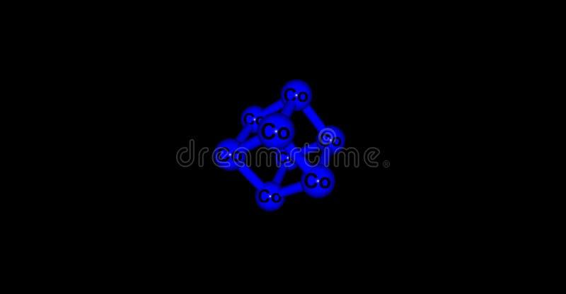 Kobalt krystaliczna struktura odizolowywająca na czerni ilustracji
