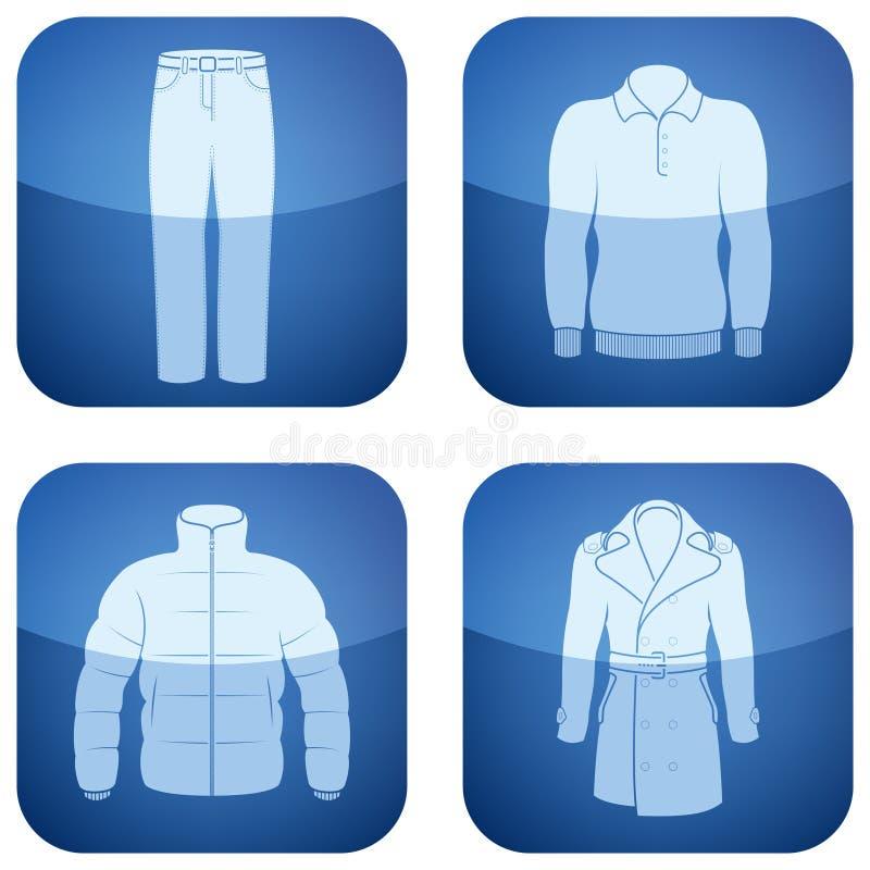 kobalt kwadrat ubraniowe ikony obsługują ustalonego s kwadrat royalty ilustracja