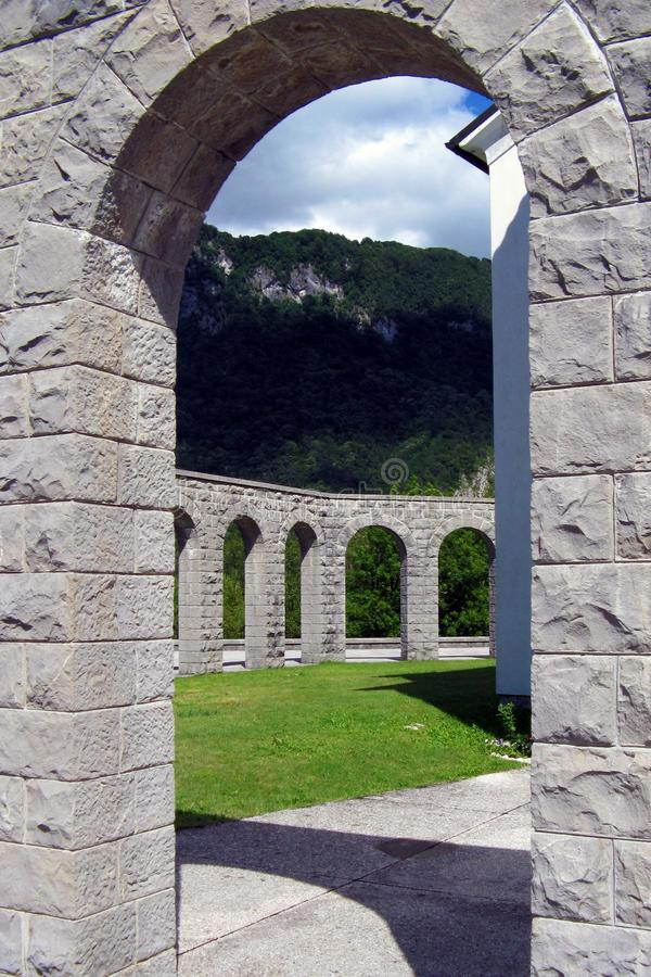 Kobarid. A detail of the Memorial of Kobarid (Slovenia) which holds the bodies of 7014 Italian soldiers killed during World War I stock images