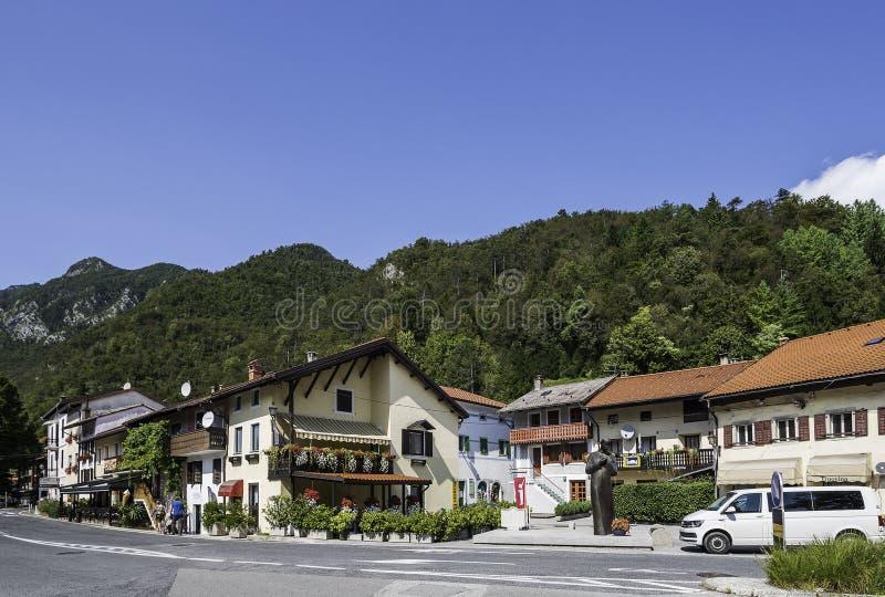 Kobarid. Slovenia - August 08, 2017: Small village , starting point for Soca rafting, Goriska Brda, Slovenia stock photography