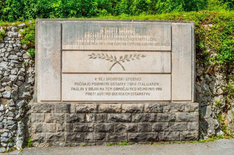 Kobarid Slovenia italian military memorial Caporetto World War I landmark Europe. Kobarid, Slovenia, 4 June 2013 - the italian military memorial in Caporetto royalty free stock image