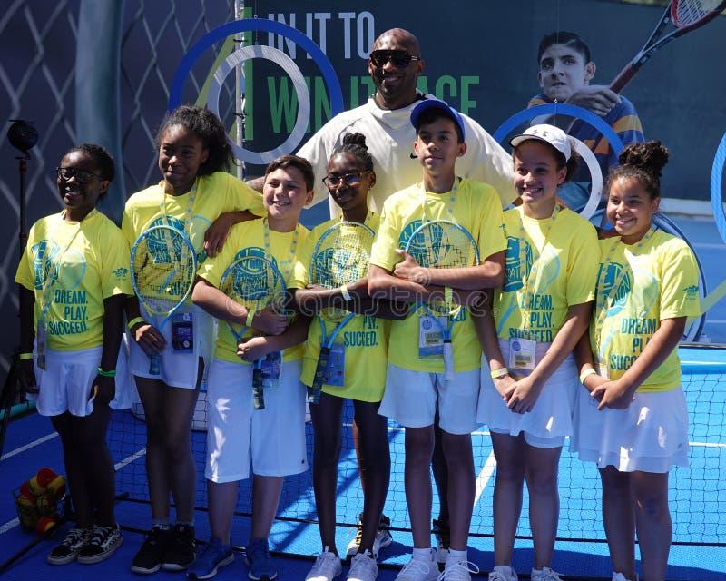 Kobe Bryant bezoekt de 2019 US Open and the Net Generation Kids' Zone in Billie Jean King National Tennis Center royalty-vrije stock foto's