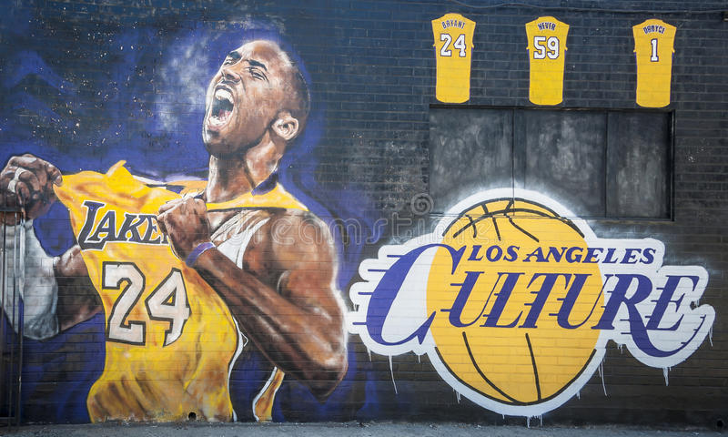 Kobe Bryant Graffiti. 3 September 2016, Los Angeles, USA. Awesome graffiti of Kobe Bryant just round the convention centre in Los Angeles stock photography