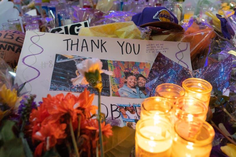 Kobe Bryant Memorial at L.A. Live royalty free stock photos