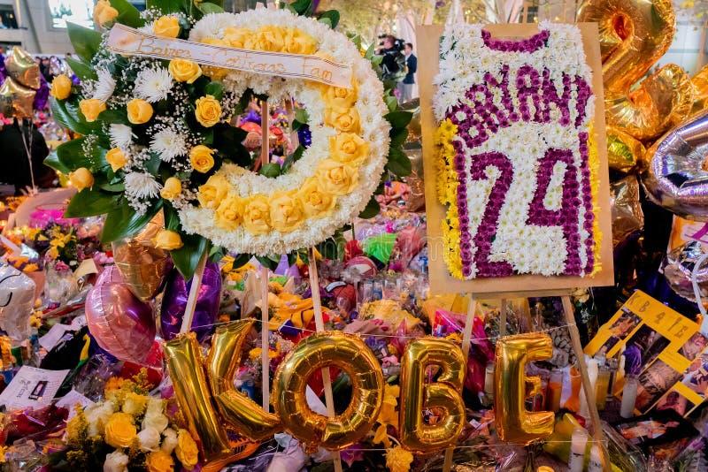Kobe Bryant Memorial at L.A. Live stock images