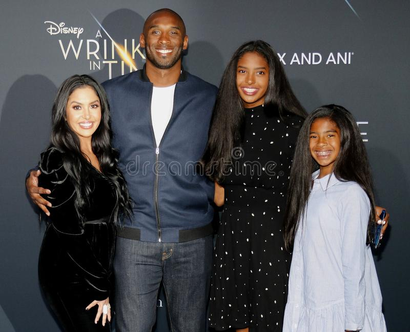 Kobe Bryant, Vanessa Bryant, Gianna Maria Onore Bryant and Natalia Diamante Bryant. At the Los Angeles premiere of `A Wrinkle In Time` held at the El Capitan stock photography