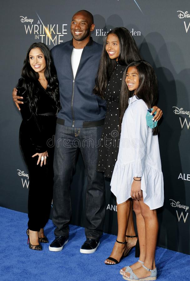 Kobe Bryant, Vanessa Bryant, Gianna Maria Onore Bryant and Natalia Diamante Bryant. At the Los Angeles premiere of `A Wrinkle In Time` held at the El Capitan royalty free stock image