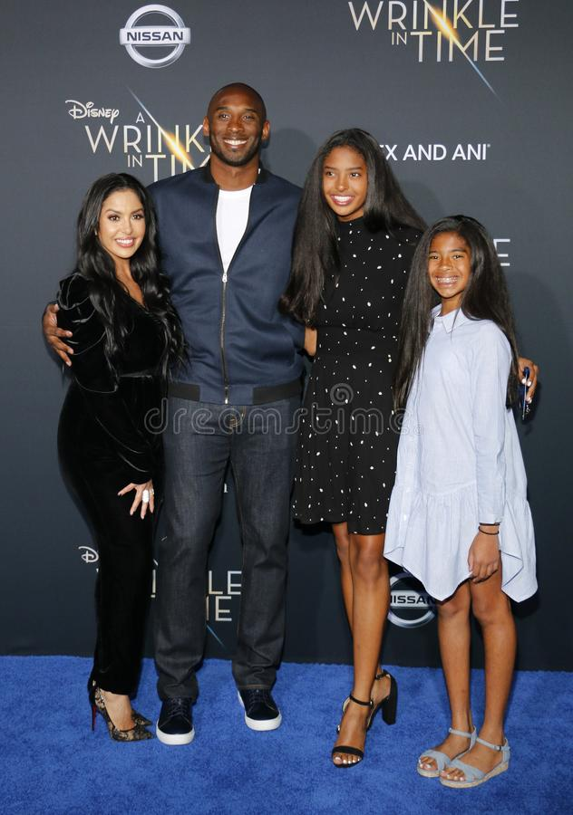 Kobe Bryant, Vanessa Bryant, Gianna Maria Onore Bryant and Natalia Diamante Bryant. At the Los Angeles premiere of `A Wrinkle In Time` held at the El Capitan royalty free stock photography