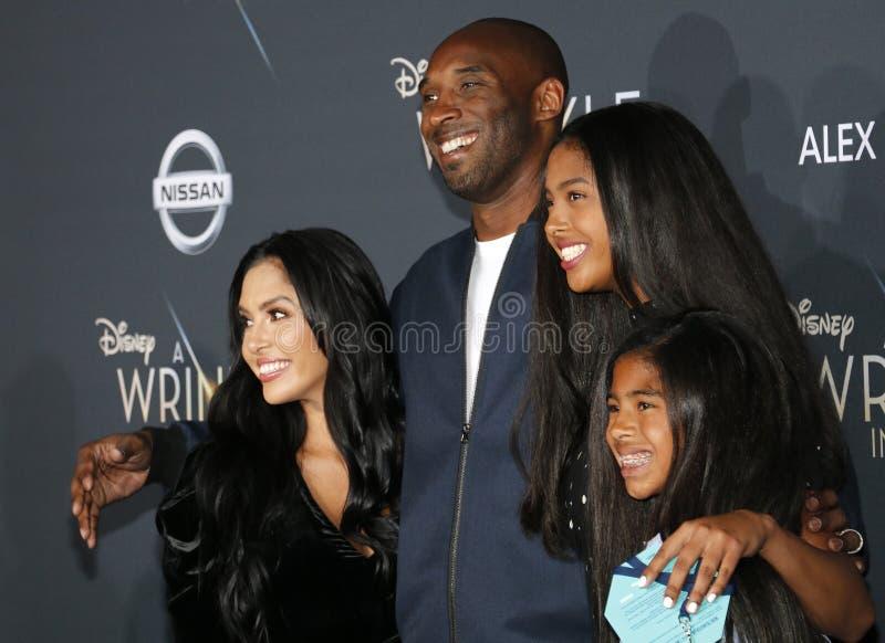 Kobe Bryant, Vanessa Bryant, Gianna Maria Onore Bryant et Natalia Diamante Bryant photos libres de droits