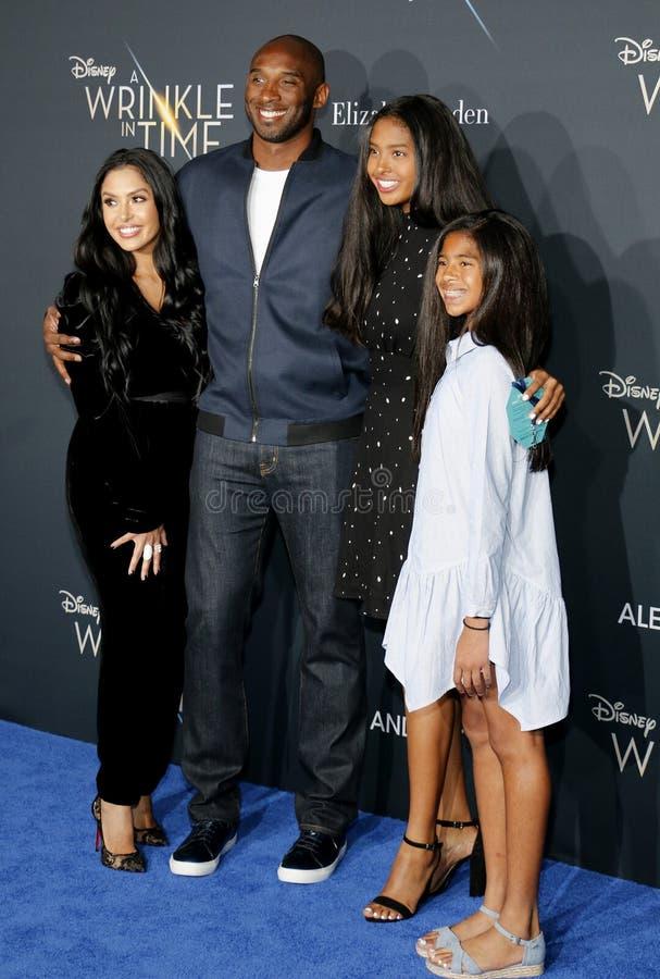 Kobe Bryant, Vanessa Bryant, Gianna Maria Onore Bryant och Natalia Diamante Bryant royaltyfri bild