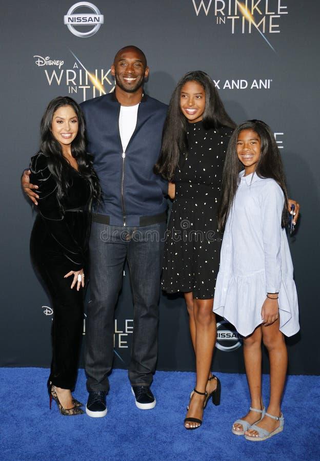 Kobe Bryant, Vanessa Bryant, Gianna Maria Onore Bryant och Natalia Diamante Bryant royaltyfri foto