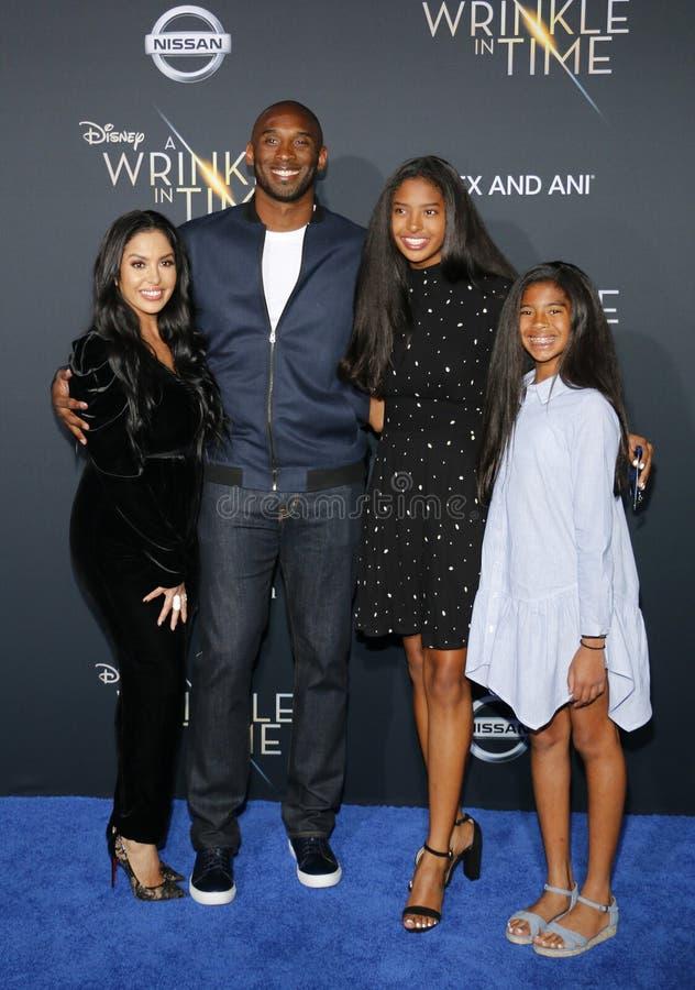 Kobe Bryant, Vanessa Bryant, Gianna Maria Onore Bryant och Natalia Diamante Bryant royaltyfri fotografi