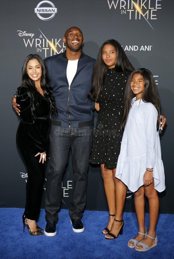 Kobe Bryant, Vanessa Bryant, Gianna Maria Onore Bryant och Natalia Diamante Bryant royaltyfria foton