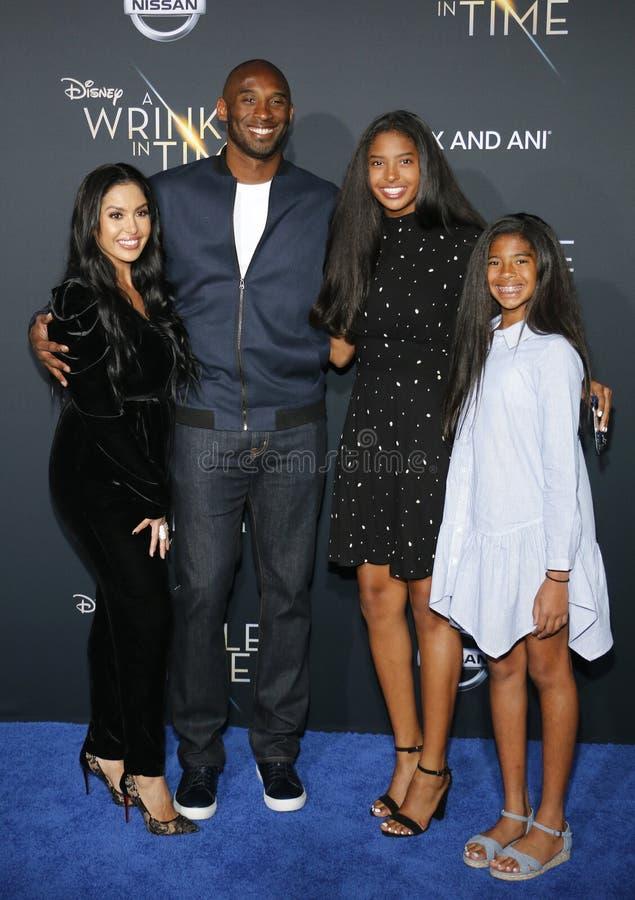 Kobe Bryant, Vanessa Bryant, Gianna Maria Onore Bryant och Natalia Diamante Bryant arkivfoto