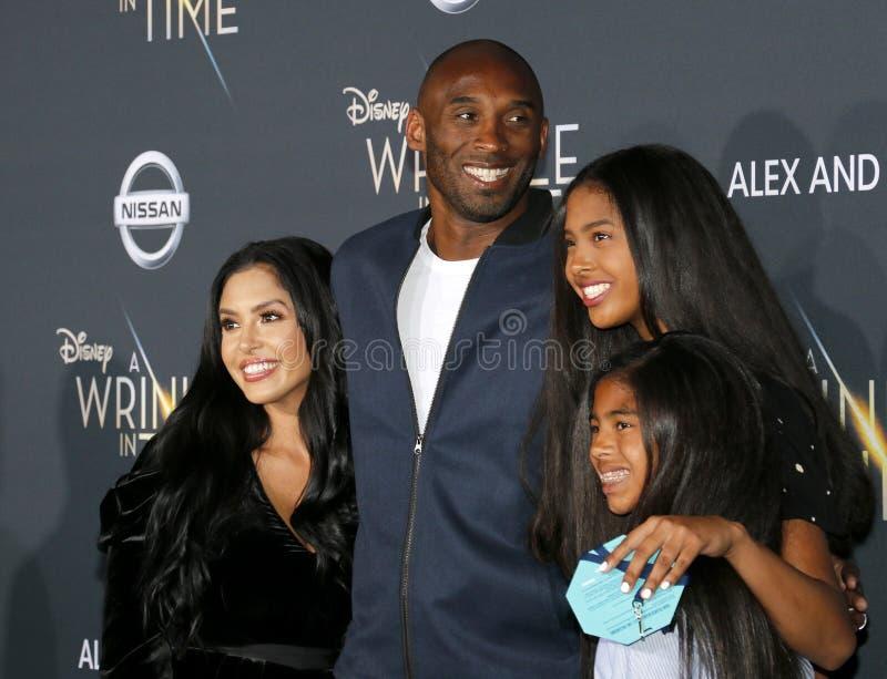 Kobe Bryant, Vanessa Bryant, Gianna Maria Onore Bryant und Natalia Diamante Bryant lizenzfreie stockfotografie