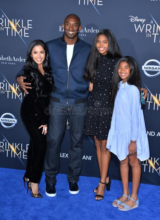 Kobe Bryant, Vanessa Laine Bryant & Children. LOS ANGELES, CA. February 26, 2018: Kobe Bryant, Vanessa Laine Bryant & Children at the premiere for A Wrinkle in stock photography