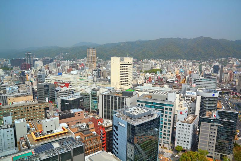 Kobe city, Japan. KOBE, JAPAN - APRIL 24, 2012: Aerial view of Kobe, Japan. Kobe is the 6th largest city of Japan, with population of 1.5m stock photos