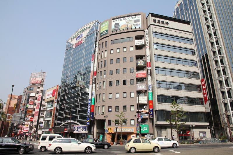 Kobe city, Japan. KOBE, JAPAN - APRIL 24, 2012: Urban street view of Kobe, Japan. Kobe is the 6th largest city of Japan, with population of 1.5m stock photography