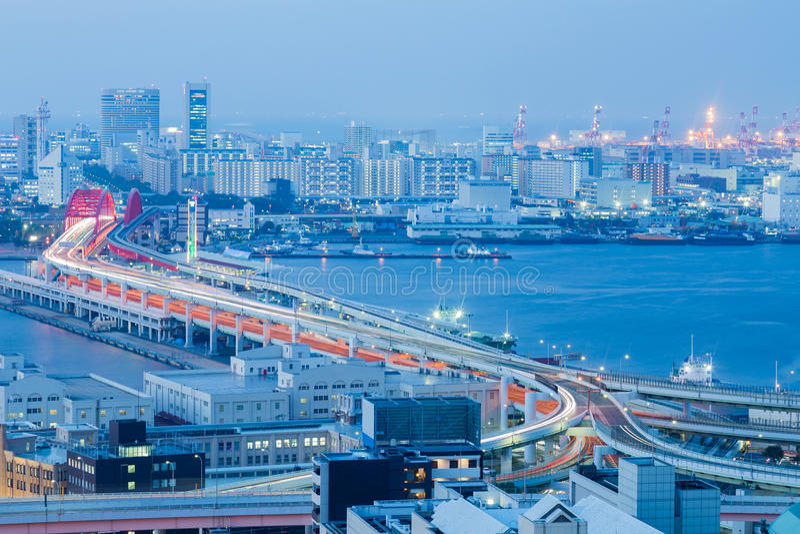 Kobe city road aerial view over sea port stock photos