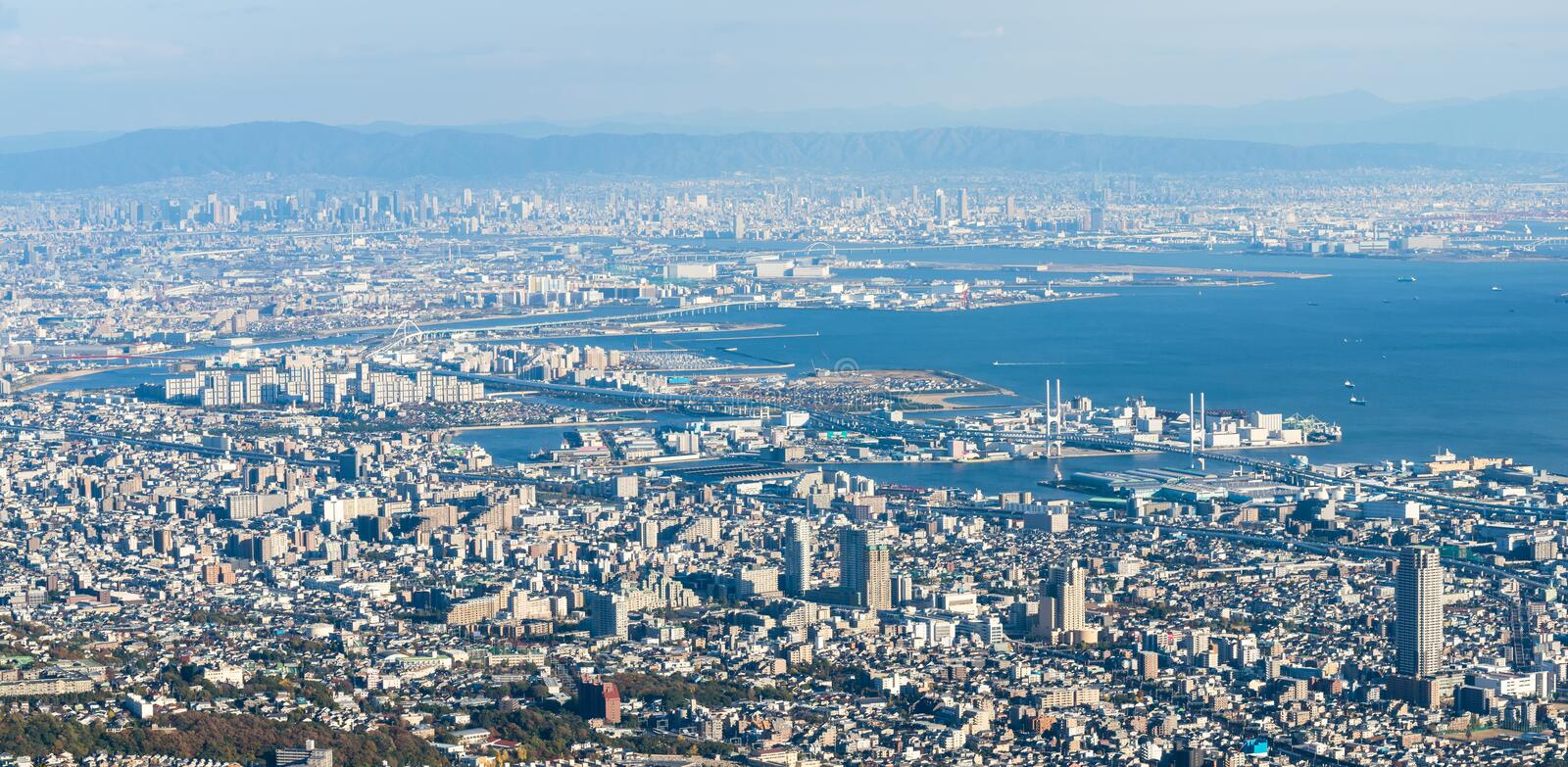 Kobe Cityscape, Aerial view from Mt. Maya royalty free stock images