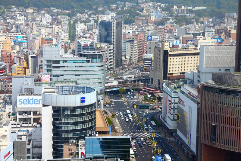 Kobe, Japan. APRIL 24, 2012: Aerial view of . Kobe is the 6th largest city of Japan, with population of 1.5m stock photo