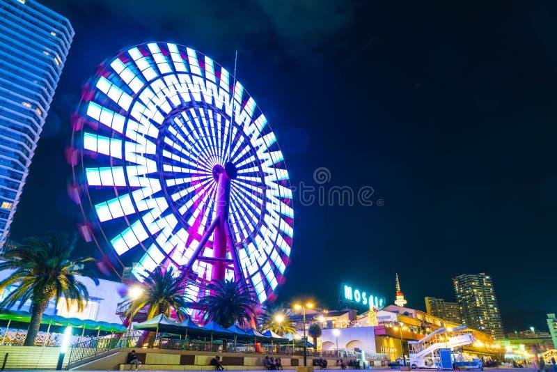 Kobe Japan - NOVEMBER 20, 2016: Pariserhjul nära mosaiskt shoppa M arkivfoton