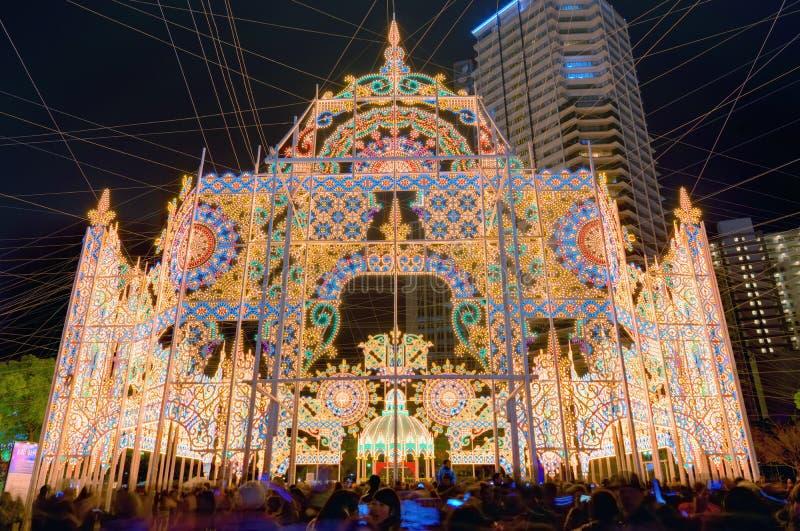 Kobe Luminarie. Luminarie light festival December 12, 2012 in Kobe, JP. The annual festival commemorates the 1995 Great Hanshin Earthquake royalty free stock images