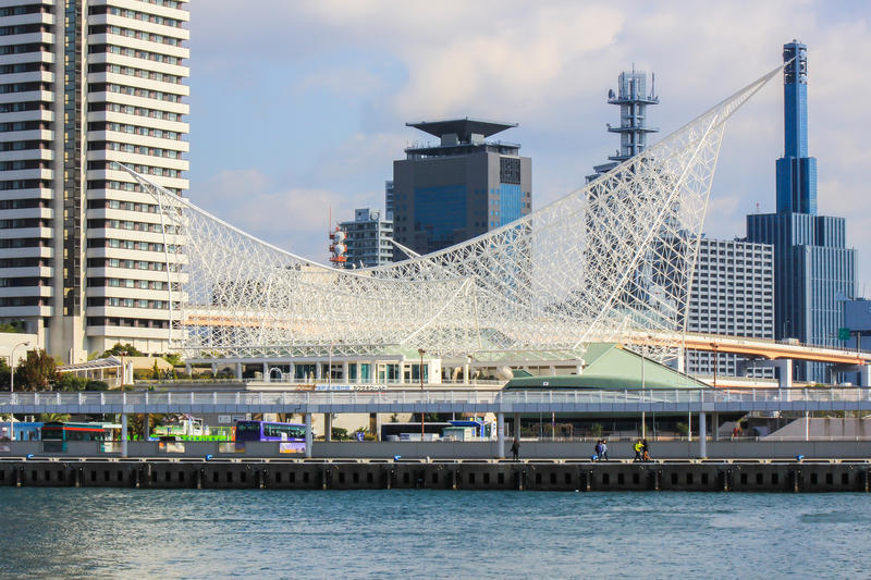 Kobe Maritime Museum,Meriken Park,Kobe,Japan. Kobe Maritime Museum is a museum focusing on the history of Japanese shipping and Kobe harbor and features a roof stock photo
