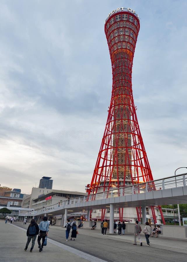 Kobe Port Tower visto de Kobe Meriken Park, puerto de Kobe, prefectura de Hyogo, Japón fotografía de archivo