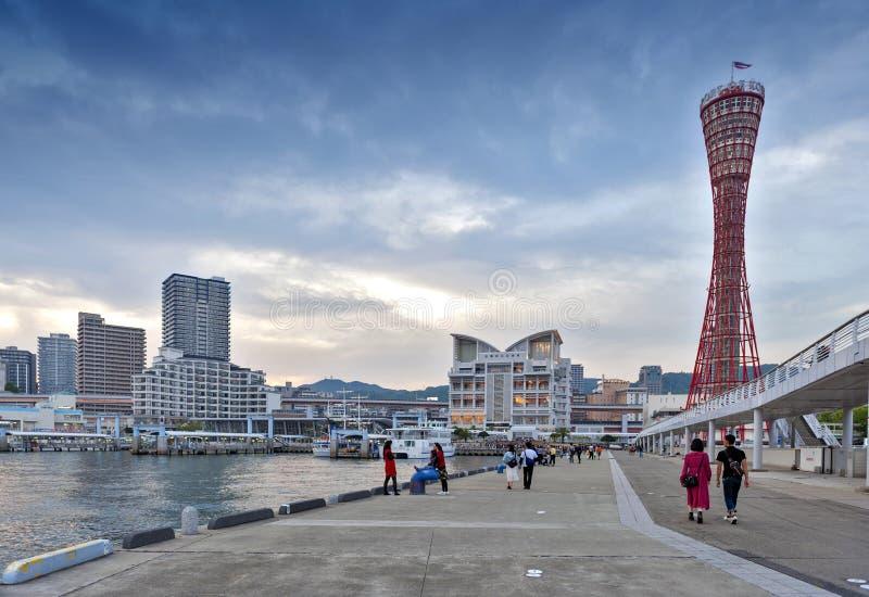 Kobe portu wierza widzieć od Kobe Meriken parka, port Kobe, Hyogo prefektura, Japonia zdjęcie stock