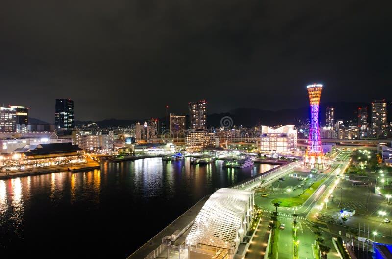 Kobe Seafront Night royaltyfri bild