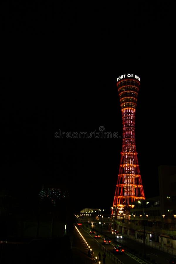 Kobe Tower en la noche imagenes de archivo