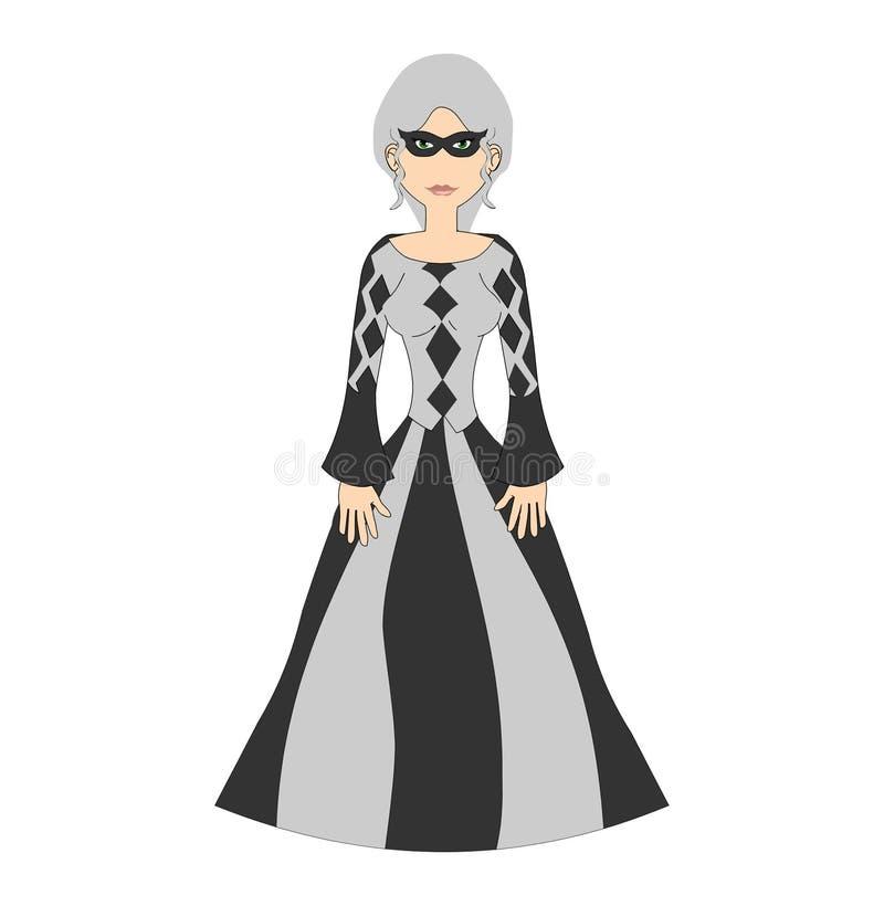 kobieca harlquin maskarada royalty ilustracja