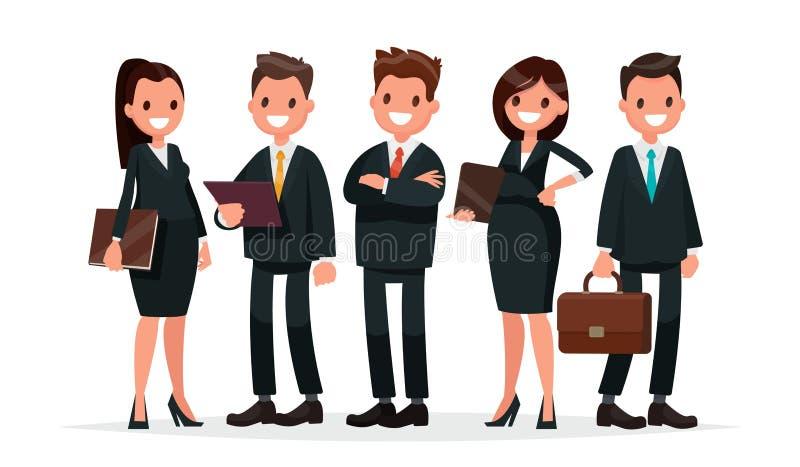 kobieciarz kawowa biznesowej megafonu zespołu Grupa ludzi ubierająca w garniturach Vect ilustracji