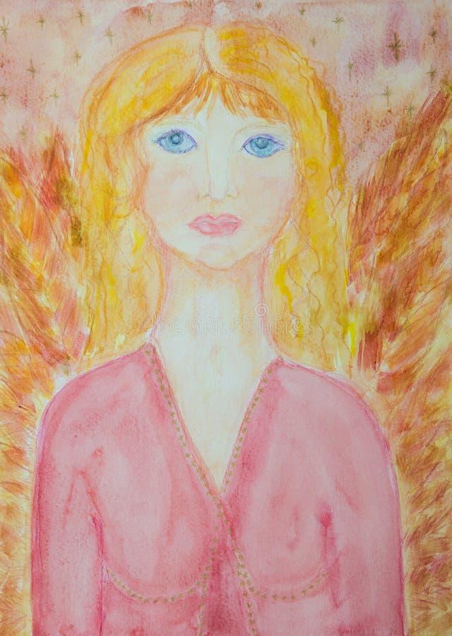 Kobiecy anioł z menchii skrzydłami i suknią obrazy royalty free