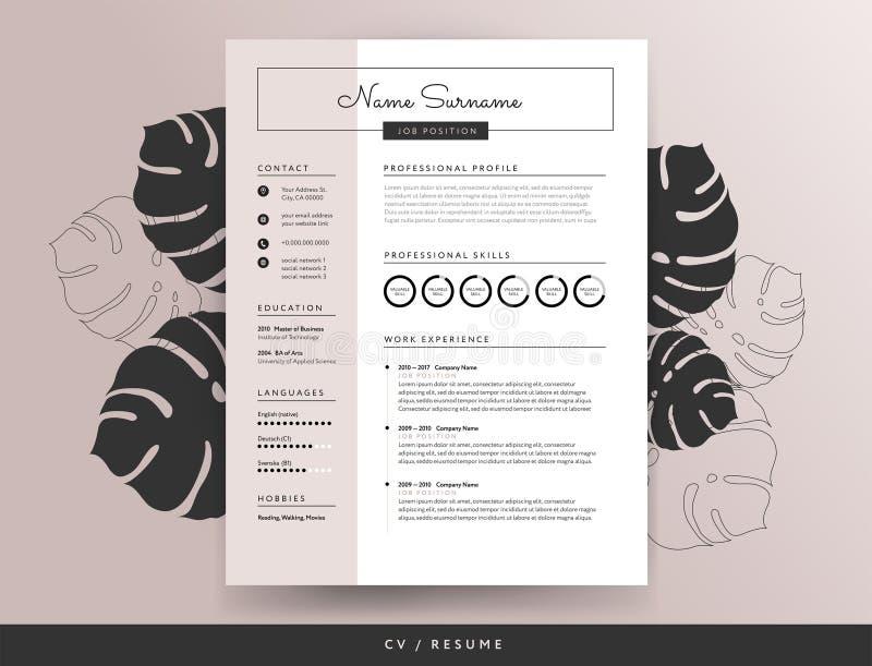 Kobiecy CV życiorysu szablon - wektorowa ilustracja ilustracja wektor