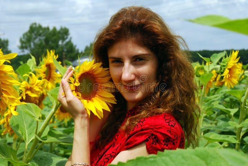 kobiet śródpolni słonecznikowi potomstwa zdjęcie stock