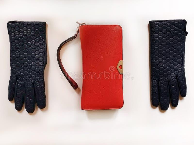 Kobiet akcesoriów l Rzemiennych rękawiczek okularów przeciwsłonecznych kiesy mody wiosny jesieni kobiety czerwonych akcesoriów od obrazy stock