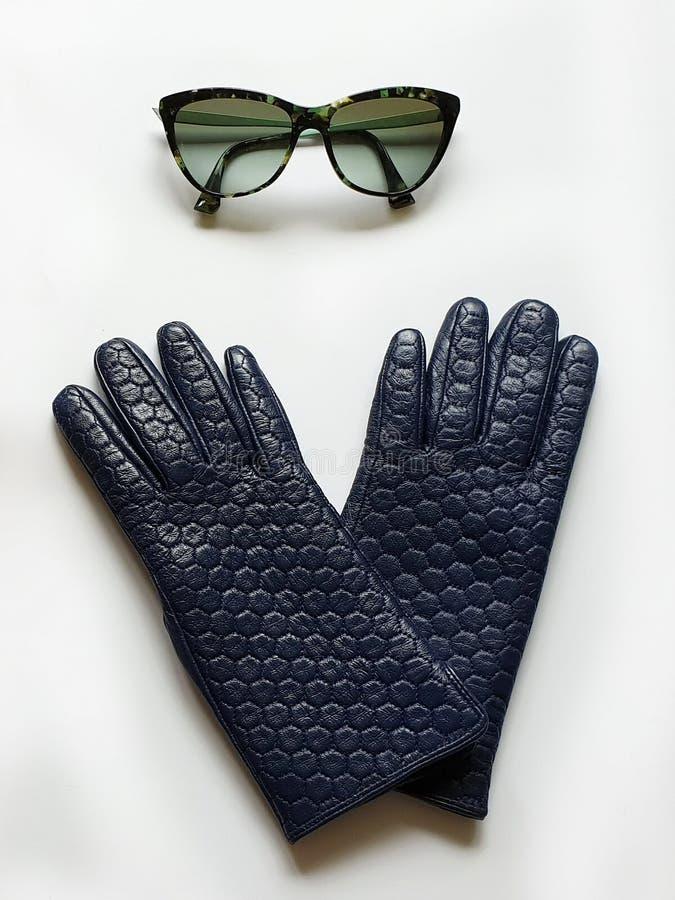 Kobiet akcesoriów Rzemiennych rękawiczek czarnych okularów przeciwsłonecznych kiesy torebki mody wiosny jesieni bielu czerwony tł obraz stock