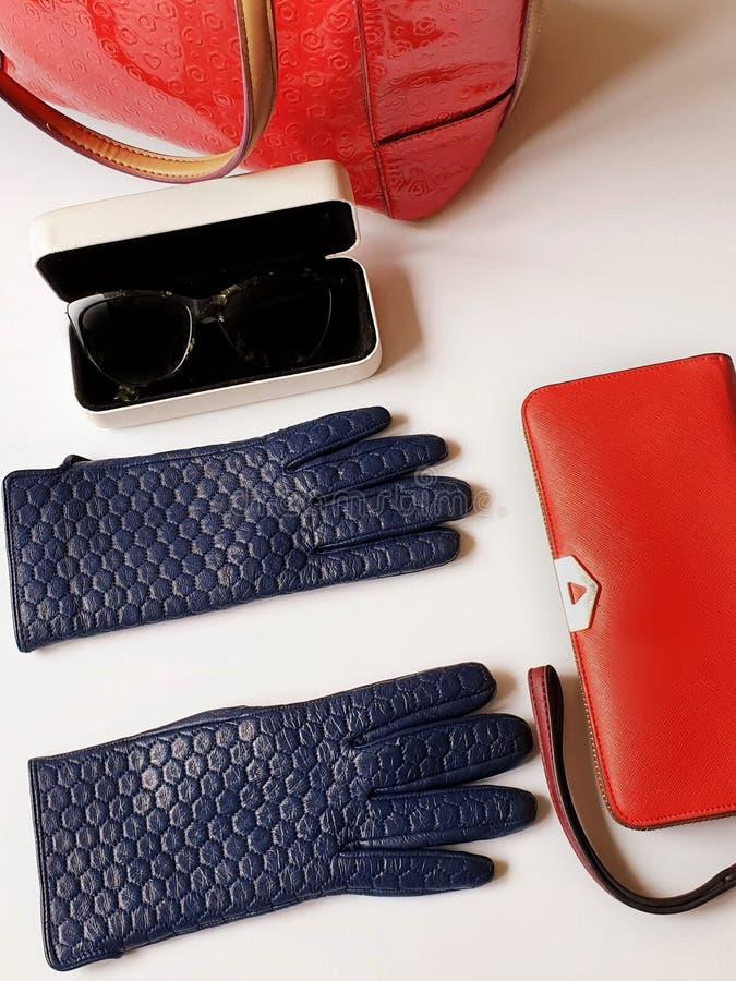 Kobiet akcesoriów Rzemiennych rękawiczek czarnych okularów przeciwsłonecznych kiesy torebki mody wiosny jesieni bielu czerwony tł obrazy stock