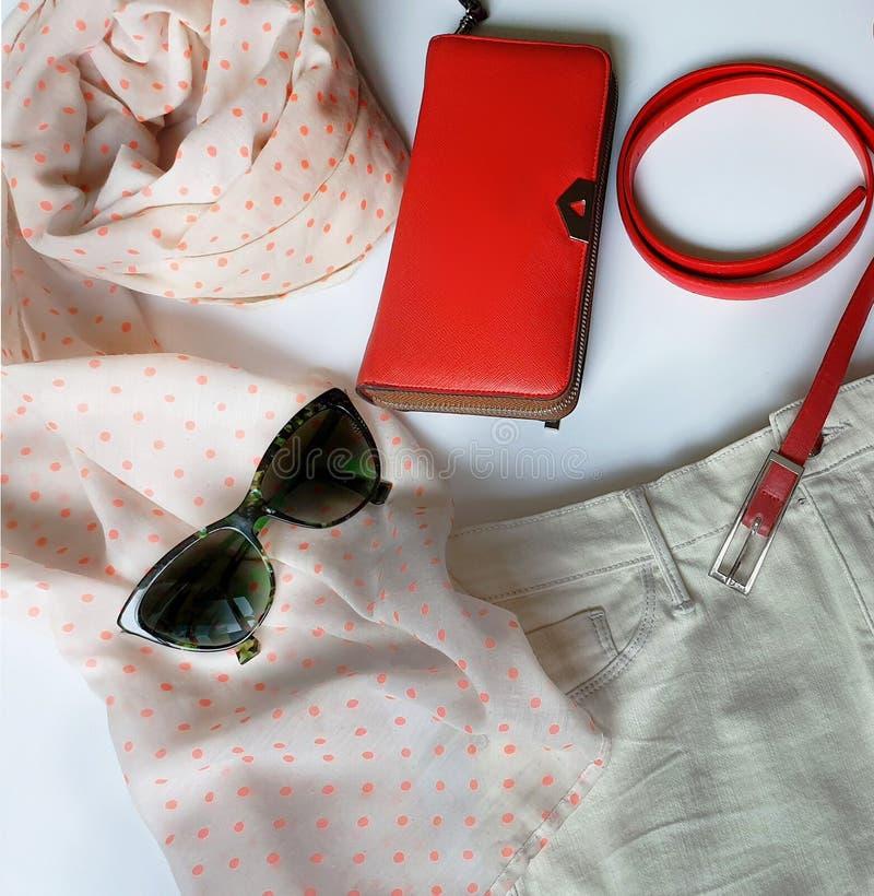 Kobiet akcesoriów szalika zieleni czerni sunglass kiesy odzieżowego pasowego czerwonego portfla Błękitni Biali cajgi i bluzy tore zdjęcie stock