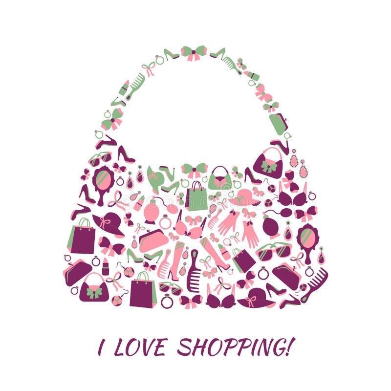 Kobiet akcesoriów torba na zakupy ilustracji