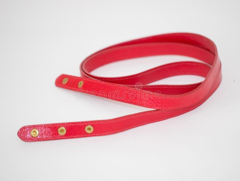 Kobiet akcesori?w czerwona torba i elegancki pasek fotografia royalty free