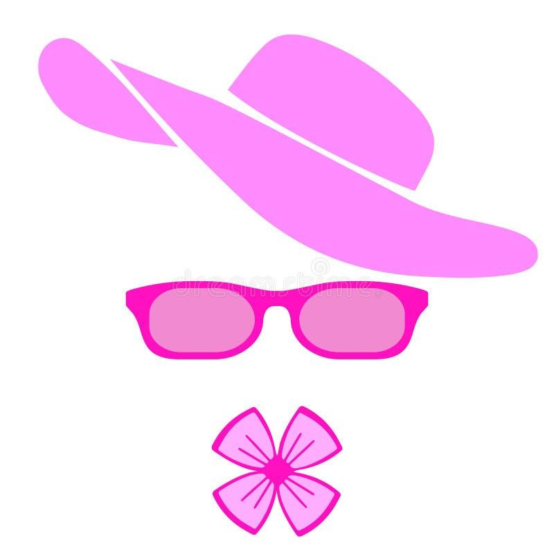Kobiet akcesoria Różowy kapelusz, szkła i łęk, Wektorowa płaska projekt ilustracja ilustracja wektor