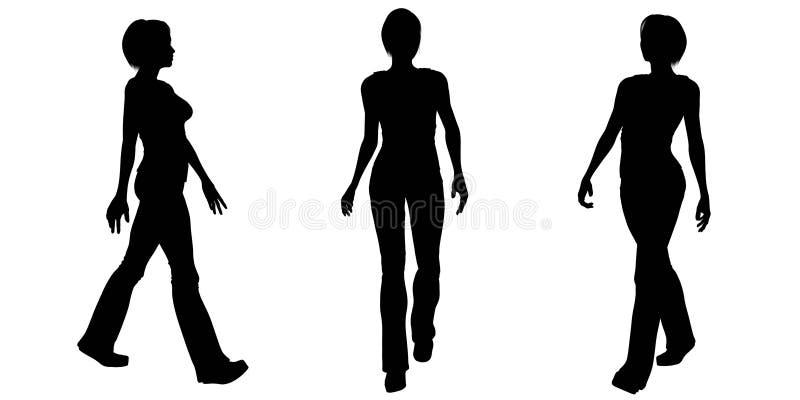 Kobiet Chodzące sylwetki - 1 royalty ilustracja