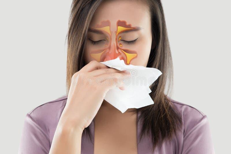 Kobiet czuć cierpiący i sinus na szarym tle ilustracji