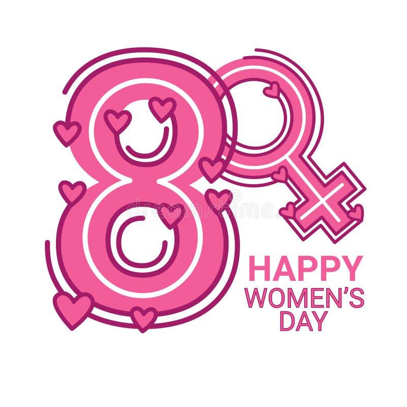 8 kobiet dnia Marcowy Międzynarodowy kartka z pozdrowieniami ilustracja wektor