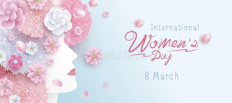 8 kobiet dnia pojęcia Marcowy Międzynarodowy projekt kobieta i kwiaty royalty ilustracja