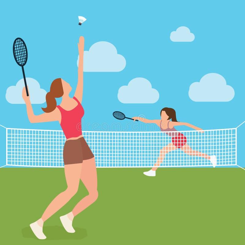 Kobiet dziewczyn sztuki badminton kanta tenisowy sąd ilustracja wektor