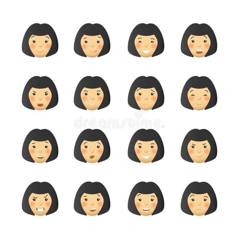 Kobiet głowy z różowymi policzkami Wektorowi avatars i emoticons ustawiający ilustracja wektor